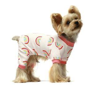 Fitwarm 100% Cotton Rainbow Pet Clothes for Dog Pajamas Shirt Pink Jumpsuit Girl