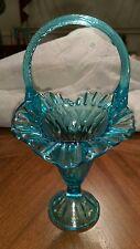 Vintage Blue Glass Vase with Handle
