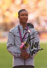 USA: CARMELITA JETER SIGNED 6x4 LONDON 2012 OLYMPICS BRONZE MEDAL PHOTO+COA
