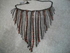 ROBERT ROSE Gunmetal Red Beaded STATEMENT Necklace NWT Free Ship