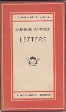 Katherine Mansfield, Lettere, 1941, Medusa, Mondadori, memorie, modernismo