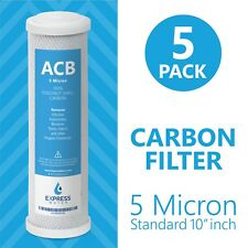 Activated Carbon Block Water Filter Replacement – 10 inch 5 Micron –  ACB 5 Pack