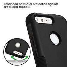 For Google Pixel - BLACK Hybrid Shockproof High Impact Armor Skin Case Cover