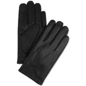 Calvin Klein Mens Touchscreen Leather Gloves  Black X-Large