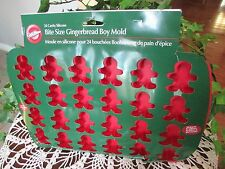 Wilton Christmas Bite Size Gingerbread Boy Silicone Cake Pan Mold Holiday 24 CT