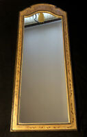 """Vintage Arched Wood Wall Mirror Painted Flowers Floral 49"""" Dresser/ Hanger"""