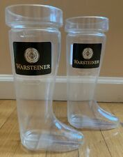 "LOT OF 2-WARSTEINER GERMAN BEER PLASTIC BOOTS/MUGS-28 OZ-9.5"" TALL-BAR-RARE-USED"