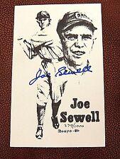 JOE SEWELL 1986' BOGYO #'d / 1000 LITHO POSTCARD  INDIANS  N.Y. YANKEES  HOF