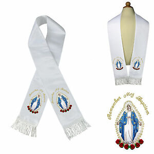 Satin Stole Baptism Christening Silver Gold Embroidered Virgin Mary Santa Maria