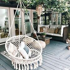 Beige Hanging Cotton Rope Macrame Hammock Chair Basket Swing Outdoor Home Garden