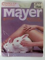 Mayer Ivory Pantyhose Reinforced Toe Medium Plus New Vintage Made In USA