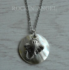 Abalone Shell Mother of Pearl Manta Ray Fish Pendant Necklace Ladies Girls Gift