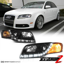 2006-2008 AUDI A4 B7 New Black Projector Headlight Lamps+R8 Style LED DRL Strip