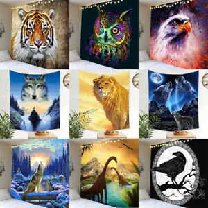 Fantasy Wolf Tapestry Galaxy Mountian Forest Animals Tiger Dinosaur Wall Hanging
