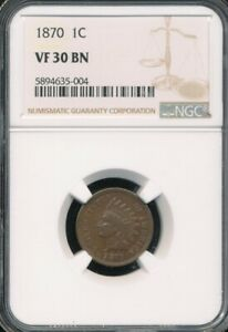 1870 Indian Cent NGC VF 30 BN *Semi-Key Date!*