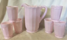 Water Set - Crown Tuscan Pink Milk Glass - Pitcher & 6 Tumblers - Mosser USA