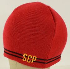 SCP embroidered beanie Red with black stripes Sport Tek
