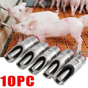 "10 Pack Stainless Steel 1/2"" PT Thread Pig Hog Automatic Nipple Drinker Waterer"
