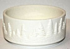 Bath & Body Works White Ceramic Forest 3 - Wick Candle Sleeve Holder New.