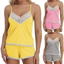 Sexy Lingerie Womens Lace Cotton Trim Satin Cami and Shorts Pajama Set Tracksuit