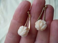 Fine genuine Angel Skin Coral earrings, carved rose design, 14 karat yellow gold