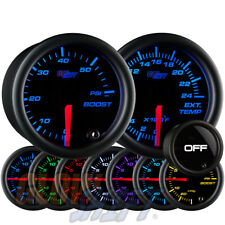GlowShift 52mm Tinted 7 Color 60psi Boost + 2400F EGT Pyrometer Diesel Gauge Set