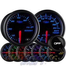GlowShift 52mm Tinted 7 Color 60psi Boost + 2400F Egt Pyrometer Diesel Gauge Set