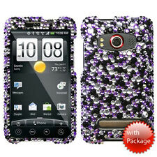 Sprint HTC EVO 4G Crystal Diamond BLING Hard Case Phone Cover Purple Star Dust
