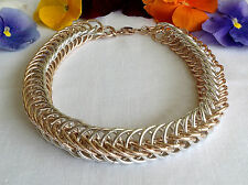 Spectacular-Vtg-Trifari Crown Choker-Necklace French Open Silver & Gold-Chain Lt