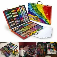 Drawing Art Set 140 Color Pencil Pastel Crayon Sketching Markers Wood Case