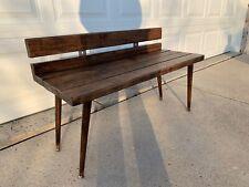 Mid Century Inspired Handmade Indoor Rustic Wooden Bench Made in USA