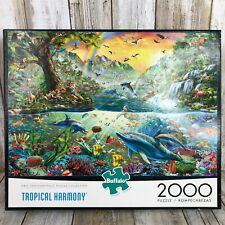 Buffalo 2000 Piece Jigsaw Puzzle Tropical Harmony Dolphins Tigers Ocean Jungle