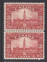 CANADA 143 1927 3c 60TH ANNIV CONFEDERATION PARLIAMENT BUILDINGS MNH PAIR CV$50