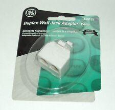GE Duplex Wall Jack Adaptor WHITE TL26191 NIP