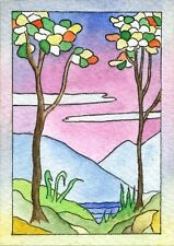 ACEO Original Watercolor Painting Trees  Mountain Water