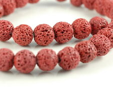 """10MM RED VOLCANIC BASALTIC LAVA GEMSTONE ROUND 10MM LOOSE BEADS 16"""""""