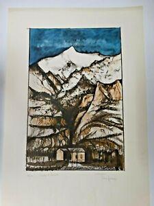 """Incisione TINO AIME - C.A.I. Alpini Italia di Susa, 14/40, """"L'ORRIDO DI FORESTA"""""""