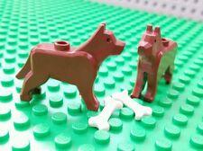 LEGO Animal DOG Chocolate Lab lot of 2 Brown Minifigure pet w/bone