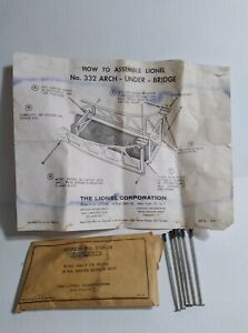 RARE ORIGINAL LIONEL ASSEM NO. 332-14 ARCH UNDER BRIDGE TIE RODS & INSTRUCTIONS