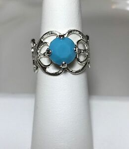 Crystal Ring Adjustable Silver Plate  Fashion Turquoise Blue Made With Swarovski