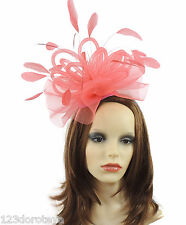 Coral Fascinator Hat For Weddings/Ascot/Proms With Headband B3