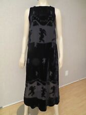 Citron Santa Monica Sz S Dress Maxi Burnt Out Silk Black Cherubs Angels Art Deco