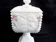 Westmoreland Hand Painted Paneled Grape Covered Candy Dish Compote Chalice