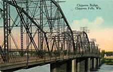 Wisconsin, WI, Chippewa Falls, Chippewa Bridge 1915 Postcard
