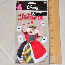 1 card WITH 6  DISNEY QUEEN OF HEARTS STICKERS DIMENSIONAL FOR SCRAPBOOK & MORE