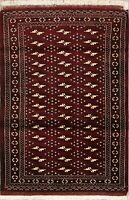 Geometric Turkoman Balouch Oriental Area Rug Wool Hand-Knotted 3'x4' Carpet