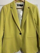 Zara Yellow Single Breasted Blazer Jacket Size UK 14 US 10 Bloggers Fave