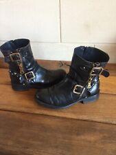 Bottes Boots Cuir Rock Clous Dorés 37
