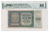 CROATIA banknote 100 Kuna 1941 PMG MS 64 Choice Uncirculated
