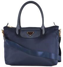 New Prada 1BA106 Blue Tessuto Nylon Borsa A Mano Convertible Zip Top Handbag